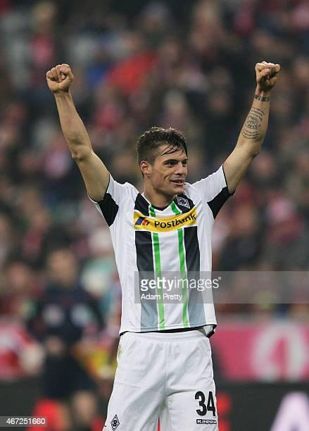 Granit Xhaka of Borussia Moenchengladbach celebrates victory after the Bundesliga match between Bayern Muenchen and Borussia Moenchengladbach at...