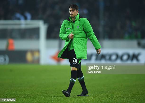 Granit Xhaka of Borussia Moenchengladbach looks dejected in defeat after the UEFA Europa League Round of 32 second leg match between Borussia...