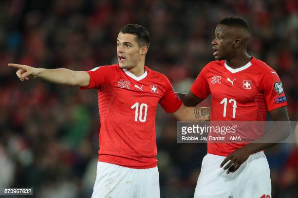 Granit Xhaka of Switzerland an Denis Zakaria of Switzerland during the FIFA 2018 World Cup Qualifier PlayOff Second Leg between Switzerland and...