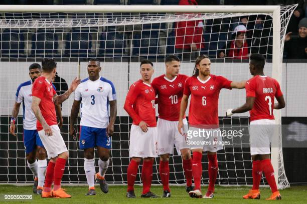 Granit Xhaka of Switzerland celebrate is goal with Michael Lang of Switzerland and Breel Embolo of Switzerland during the International Friendly...