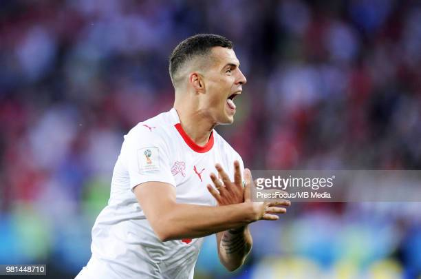 Granit Xhaka of Switzerland celebrates scoring a goal during the 2018 FIFA World Cup Russia group E match between Serbia and Switzerland at...