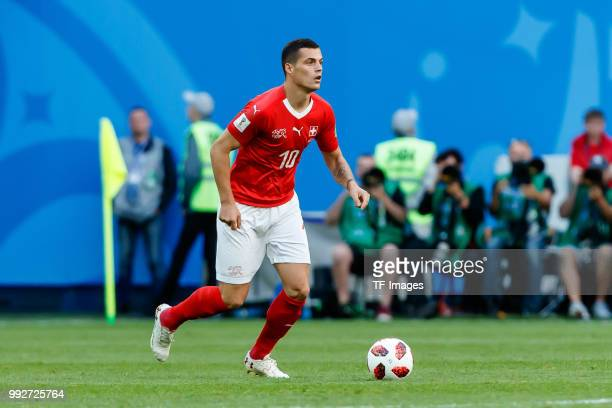Granit Xhaka of Switzerland controls the ball during the 2018 FIFA World Cup Russia Round of 16 match between Sweden and Switzerland at Saint...