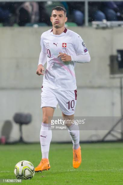 Granit Xhaka of Switzerland controls the ball during the UEFA Euro 2020 Qualifier between Switzerland and Georgia on November 15 2019 in St Gallen...