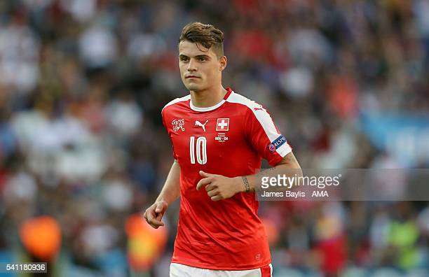 Granit Xhaka of Switzerland during the UEFA EURO 2016 Group A match between Romania and Switzerland at Parc des Princes on June 15 2016 in Paris...