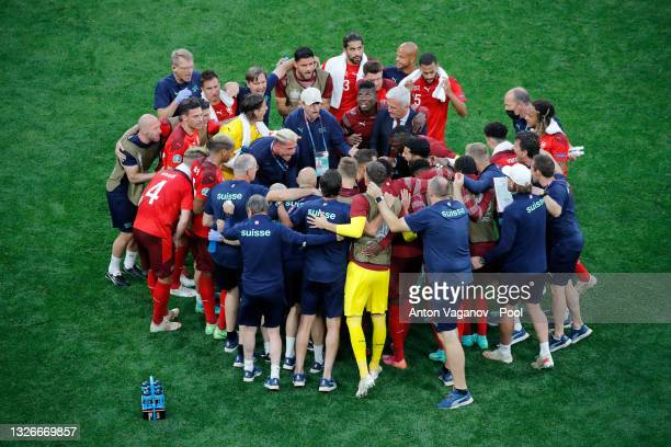 Granit Xhaka of Switzerland encourages the team before the second half of extra time during the UEFA Euro 2020 Championship Quarter-final match...