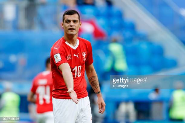Granit Xhaka of Switzerland gestures during the 2018 FIFA World Cup Russia Round of 16 match between Sweden and Switzerland at Saint Petersburg...