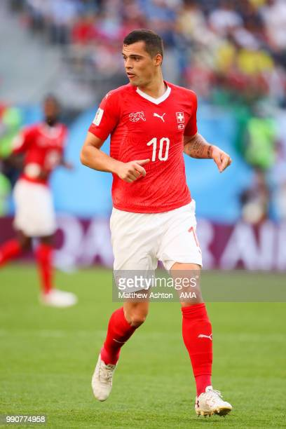 Granit Xhaka of Switzerland in action during the 2018 FIFA World Cup Russia Round of 16 match between Sweden and Switzerland at Saint Petersburg...