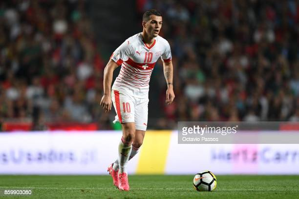 Granit Xhaka of Switzerland in action during the FIFA 2018 World Cup Qualifier between Portugal and Switzerland at the Luz Stadium on October 10 2017...