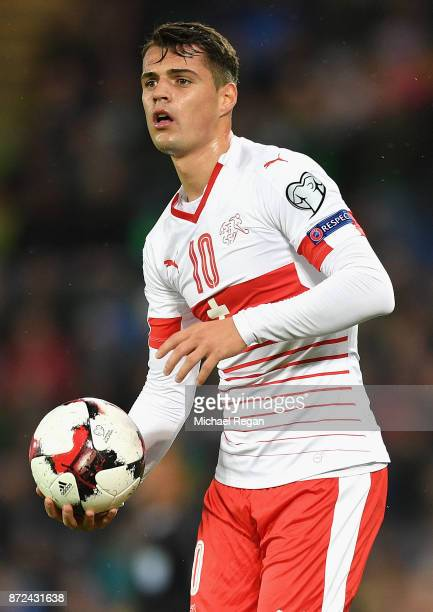 Granit Xhaka of Switzerland in action during the FIFA 2018 World Cup Qualifier PlayOff First Leg between Northern Ireland and Switzerland at Windsor...