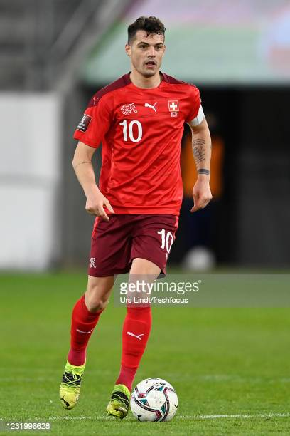 Granit Xhaka of Switzerland in action during the FIFA World Cup 2022 Qatar qualifying match between Switzerland and Lithuania at Kybunpark on March...