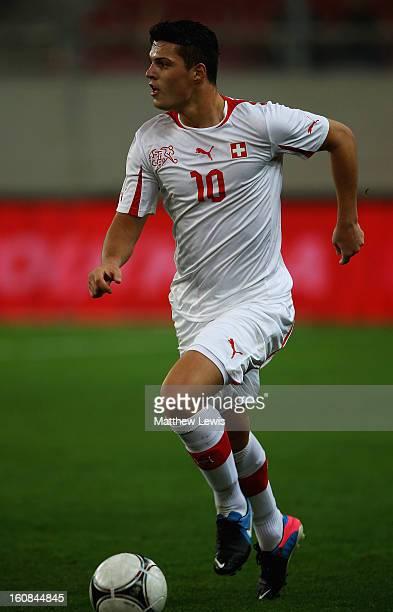 Granit Xhaka of Switzerland in action during the International Friendly match between Greece and Switzerland at Karaiskakis Stadium on February 6...