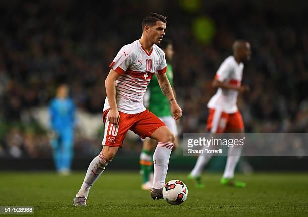 Granit Xhaka of Switzerland in action during the International Friendly match between Republic of Ireland and Switzerland at Aviva Stadium on March...