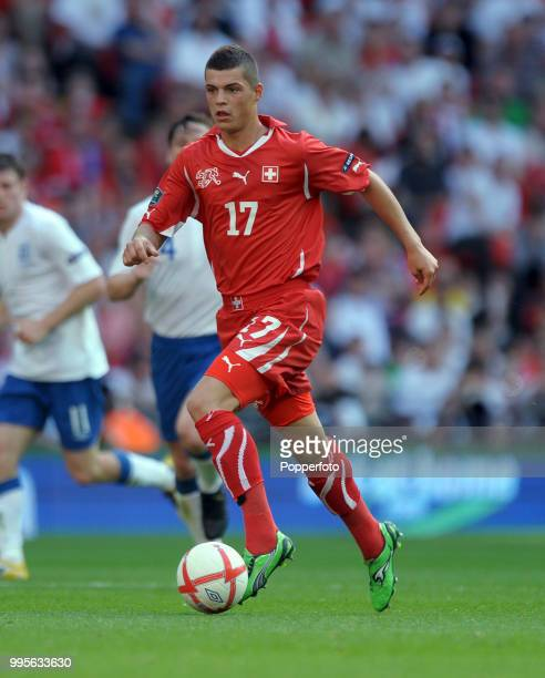 Granit Xhaka of Switzerland in action during the UEFA EURO 2012 group G qualifying match between England and Switzerland at Wembley Stadium in London...