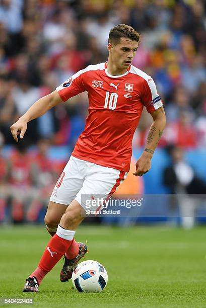 Granit Xhaka of Switzerland in action during the UEFA EURO 2016 Group A match between Romania and Switzerland at Parc des Princes on June 15 2016 in...