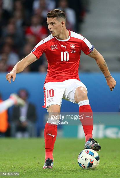 Granit Xhaka of Switzerland in action during the UEFA EURO 2016 Group A match between Switzerland and France at Stade PierreMauroy on June 19 2016 in...