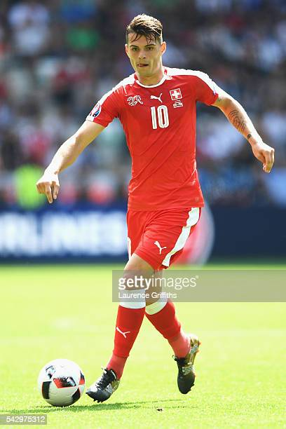 Granit Xhaka of Switzerland in action during the UEFA EURO 2016 round of 16 match between Switzerland and Poland at Stade GeoffroyGuichard on June 25...
