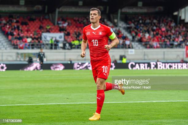 Granit Xhaka of Switzerland in action during the UEFA Euro 2020 qualifier match between Switzerland and Gibraltar on September 8, 2019 at Stade de...
