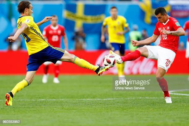 Granit Xhaka of Switzerland kicks the ball during the 2018 FIFA World Cup Russia Round of 16 match between Sweden and Switzerland at the Saint...