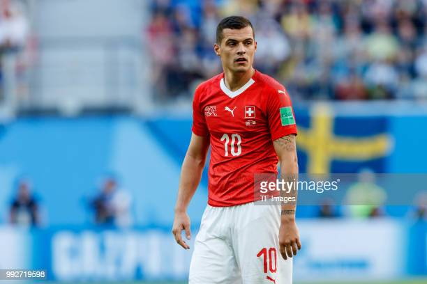 Granit Xhaka of Switzerland looks on during the 2018 FIFA World Cup Russia Round of 16 match between Sweden and Switzerland at Saint Petersburg...