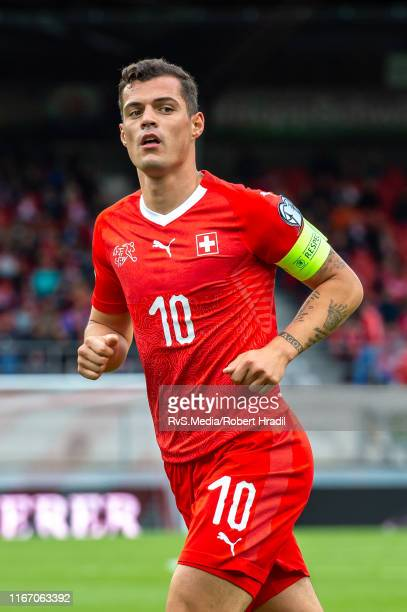 Granit Xhaka of Switzerland looks on during the UEFA Euro 2020 qualifier match between Switzerland and Gibraltar on September 8, 2019 at Stade de...