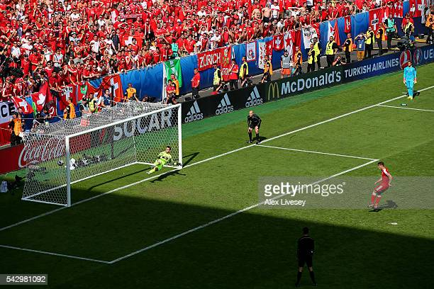 Granit Xhaka of Switzerland misses a penalty kick at the penalty shootout during the UEFA EURO 2016 round of 16 match between Switzerland and Poland...