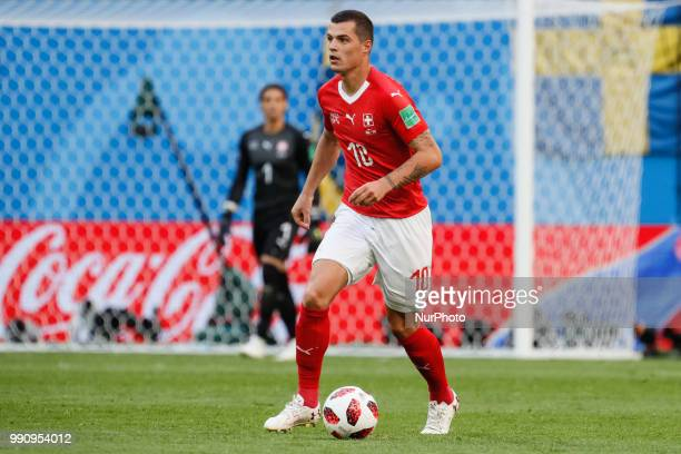 Granit Xhaka of Switzerland national team during the 2018 FIFA World Cup Russia Round of 16 match between Sweden and Switzerland on July 3 2018 at...