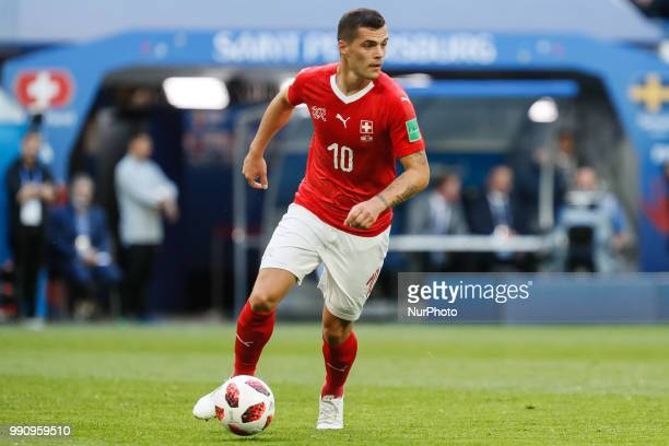 Granit Xhaka of Switzerland national team in action during the 2018 FIFA World Cup Russia Round of 16 match between Sweden and Switzerland on July 3...