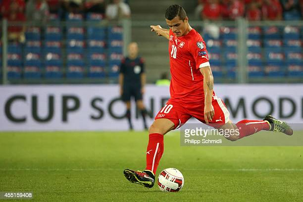 Granit Xhaka of Switzerland plays the ball during the EURO 2016 Qualifier match between Switzerland and England on September 8 2014 in Basel...