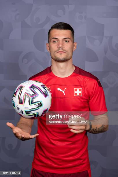 Granit Xhaka of Switzerland poses during the official UEFA Euro 2020 media access day on May 29, 2021 in Bad Ragaz, Switzerland.