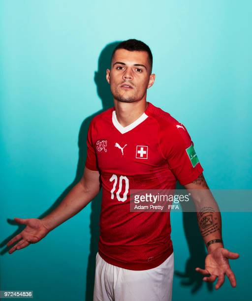 Granit Xhaka of Switzerland poses for a portrait during the official FIFA World Cup 2018 portrait session at the Lada Resort on June 12 2018 in...