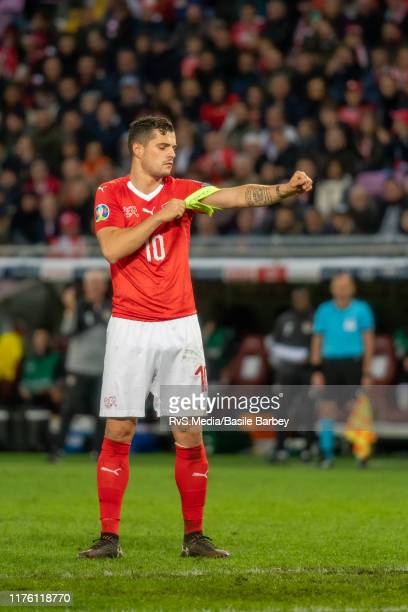 Granit Xhaka of Switzerland puts on the captain armband during the UEFA Euro 2020 qualifier between Switzerland and Republic of Ireland on October 15...