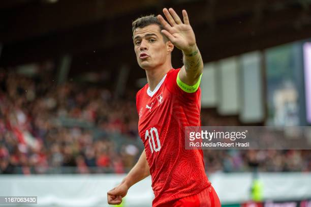 Granit Xhaka of Switzerland reacts during the UEFA Euro 2020 qualifier match between Switzerland and Gibraltar on September 8, 2019 at Stade de...