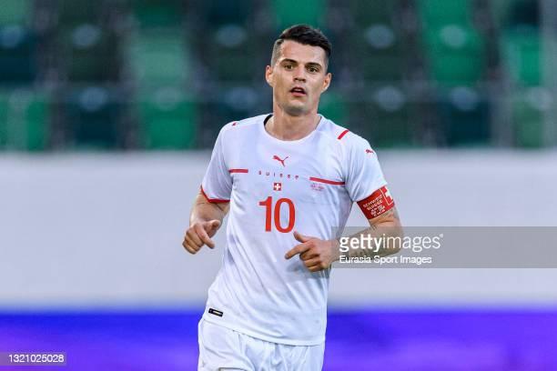 Granit Xhaka of Switzerland runs in the field during the international friendly match between Switzerland and United States at Kybunpark Stadium on...