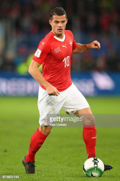 Granit Xhaka of Switzerland runs with the ball during the FIFA 2018 World Cup Qualifier PlayOff second leg match between Switzerland and Northern...