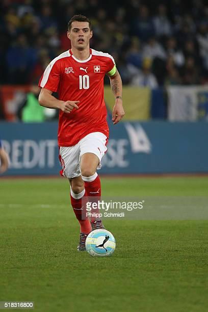 Granit Xhaka of Switzerland runs with the ball during the international friendly match between Switzerland and BosniaHerzegovina at Stadium...