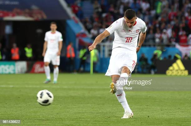 Granit Xhaka of Switzerland scores his sides opening goal to make the score 11 during the 2018 FIFA World Cup Russia group E match between Serbia and...