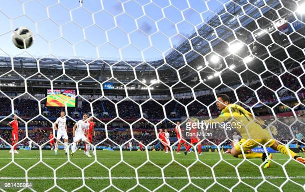 Granit Xhaka of Switzerland scores his team's first goal past Vladimir Stojkovic of Serbia during the 2018 FIFA World Cup Russia group E match...