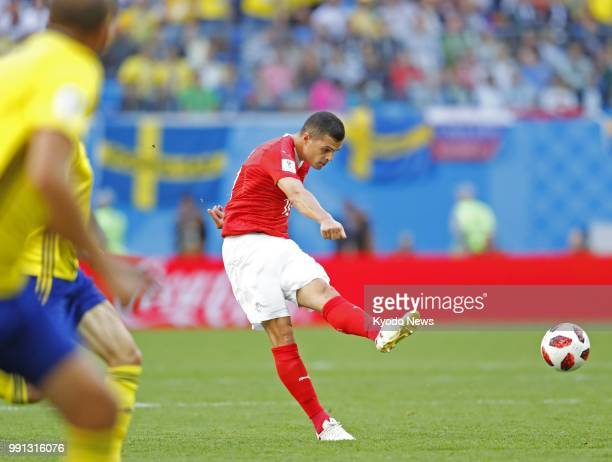 Granit Xhaka of Switzerland shoots during the first half of a World Cup roundof16 match against Sweden on July 3 in St Petersburg Sweden won 10...