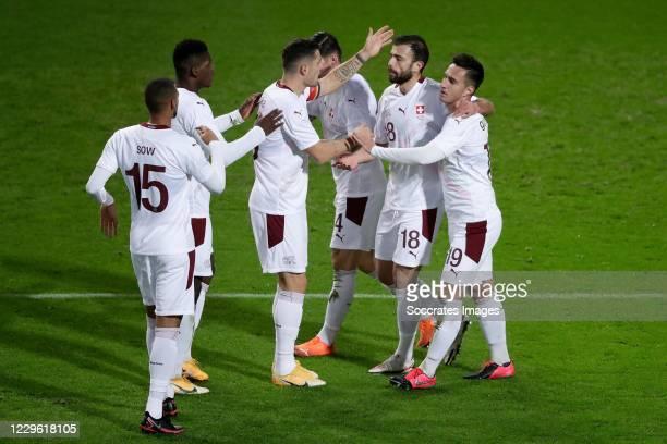 Granit Xhaka of Switzerland, Steven Zuber of Switzerland, Admir Mehmedi of Switzerland, Mario Gavranovic of Switzerland celebrate 0-1 during the...