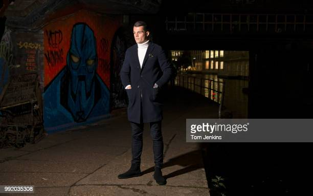 Granit Xhaka the Arsenal and Switzerland footballer poses for a portrait on the towpath at Camden Lock on November 16 2017 in LondonUnited Kingdom