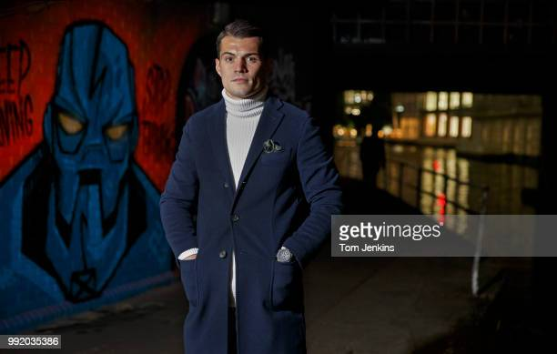 Granit Xhaka, the Arsenal and Switzerland footballer, poses for a portrait on the towpath at Camden Lock on November 16, 2017 in London,United...