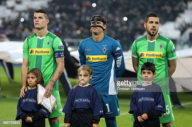 Granit Xhaka Yann Sommer and Alvaro Dominguez of Borussia Moenchengladbach during the UEFA Champions League group stage match between Juventus and...