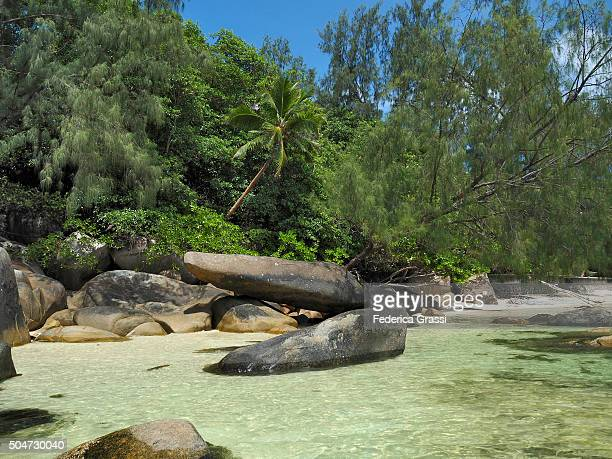 Granite Boulders and White Sand Beaches, Seychelles, Indian Ocean