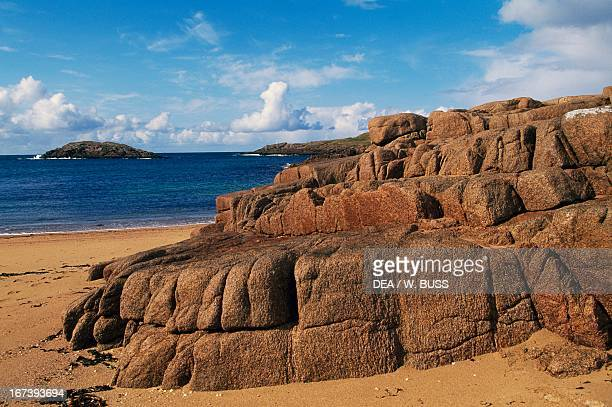 Granite cliffs on Cruit Island Rosses County Donegal Ireland