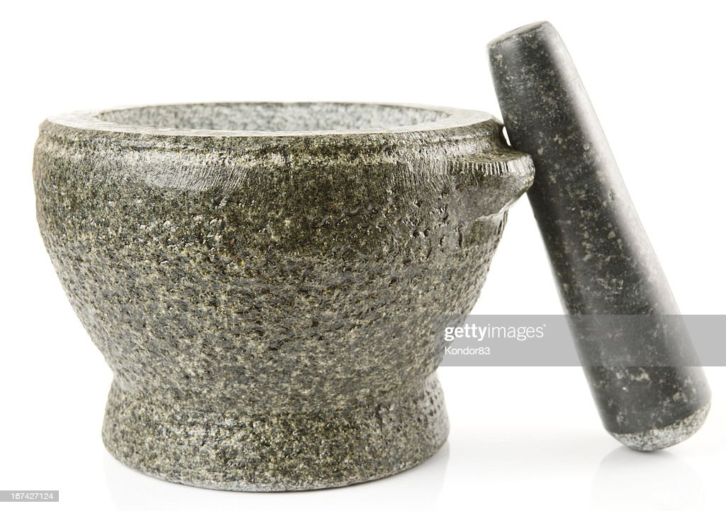 Granite mortar used for making sauces, isolated : Stock Photo