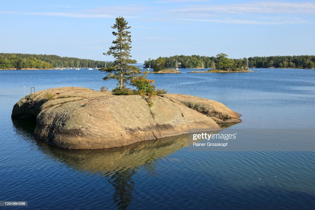 Granite rock island with a single pine tree in the tranquil bay of Blue Hill Harbor : Stock-Foto