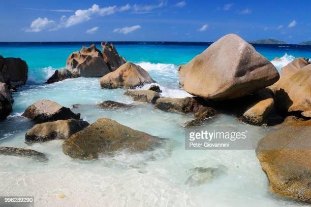 Granite rocks on Anse Patates beach, La Digue Island, La Digue and Inner Islands, Seychelles