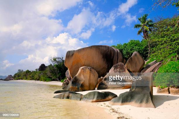 Granite rocks on the beach, La Digue Island, La Digue and Inner Islands, Seychelles