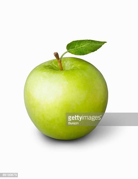 Grannysmith Apple with green leaf