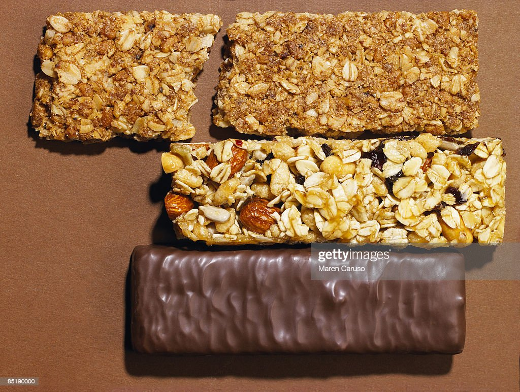 Granola, And Chocolate Energy Bars, Top View. : Stock Photo